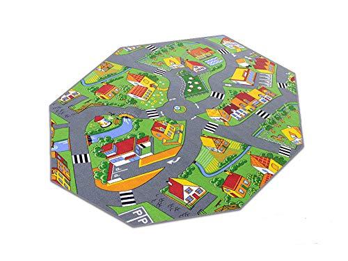 HEVO Stadt Land Fluss Teppich   Kinderteppich   Spielteppich 200 cm Achteck
