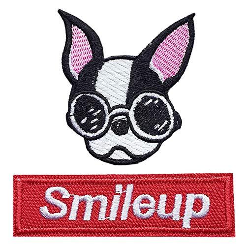 スマイル DOG ワッペン 刺繍ワッペン アイロン接着 2枚セット ロゴ ニコちゃん にこちゃん smile フレンチブルドッグ 犬 イヌ dog 動物 アップリケ アイロンワッペン 手芸 かわいい オシャレ (DOGセット)