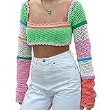 Pabuyafa Mujeres 's Casual de manga larga hueco Y2k Crop Top Crochet punto malla suéter cuadrado cuello color bloque 90S Streetwear, verde, S