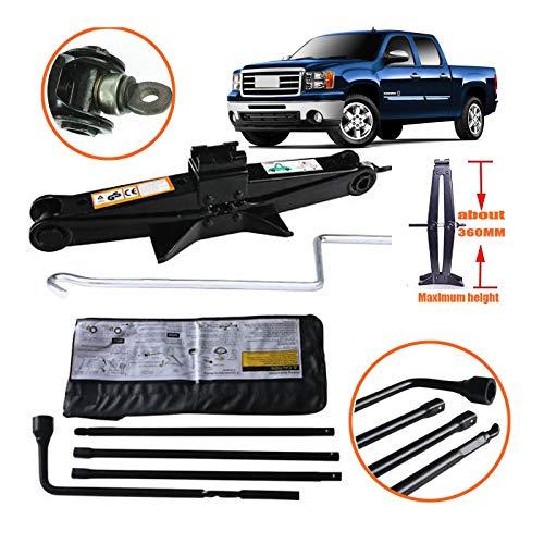 Tyre Repair Tool Kit for 2000-2014 GMC Sierra Chevy Silverado Spare Tire Tool Lug Wrench + 2 Ton Scissor Jack with Handle Emergency Car Kit Pratical Tools