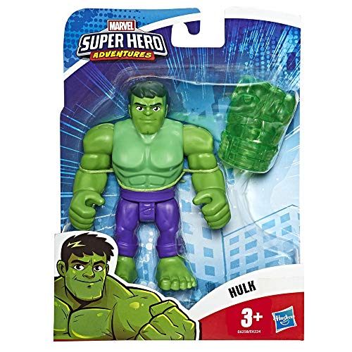 Hasbro Playskool- Heroes The_Avengers Marvel Super Hero Adventures-Hulk (Action Figure da 12,5 cm), Multicolore, E6258ES0