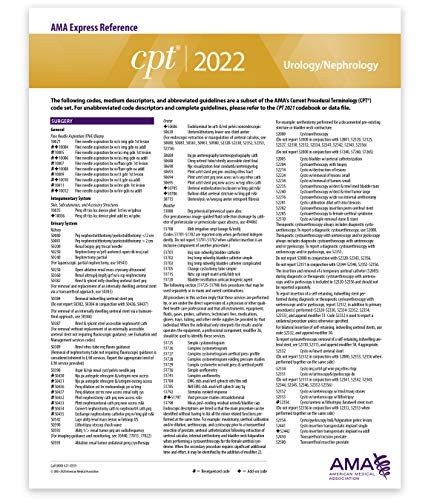 CPT Express Reference Coding Card 2022: Urology/Nephrology
