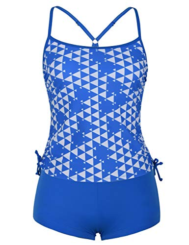 Rocorose Women's Two Piece Swimsuit Geometic Print Stretch Bathing Suit with Bikini Bottom Blue XL 16-18