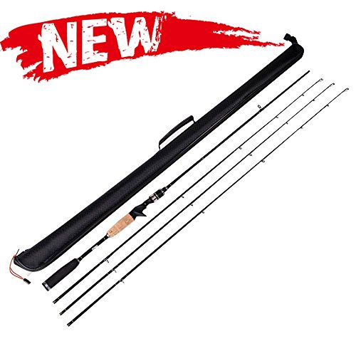 Entsport 2-Piece 7-Feet Casting Rod 3 Top Pieces Available (MH, M, ML) Solid Graphite Baitcasting Fishing Rod Portable Baitcast Rod Baitcaster (Casting Rod with 3 Top Pieces with Black Bag, 7-Feet)