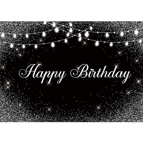Allenjoy Happy Birthday Black Silver Backdrop Shiny Glitter Dots Sweet 16 30th 40th 50th 60th 70th Bday Party Decor Banner Newborn Kid Photography Background 7x5ft Glamour Event Photo Shoot Booth Prop