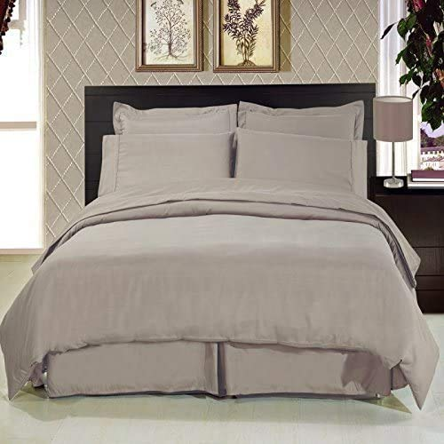 ARLINENS 200 Thread Count 100% Egyptian Cotton Duvet Quilt Cover Bedding Sets with Pillow cases (Stone, Double)