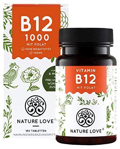 Vitamin B12 Vegan 1000µg 180 Tabletten - Vergleichssieger 2020* - Adenosyl- & Methylcobalamin + Depot + Folat 5-MTHF (Quatrefolic®) - Made in Germany