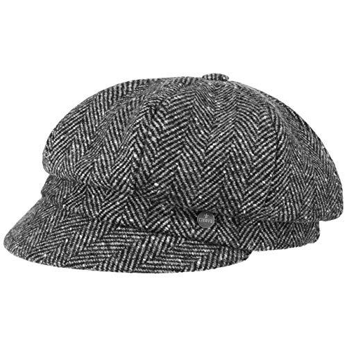 Lierys Alessia Herringbone Ballonmütze Schirmmütze Baker-Boy-Mütze Damencap Wintercap Wollcap Damen - Made in Italy mit Schirm, Futter Herbst-Winter - One Size schwarz-grau