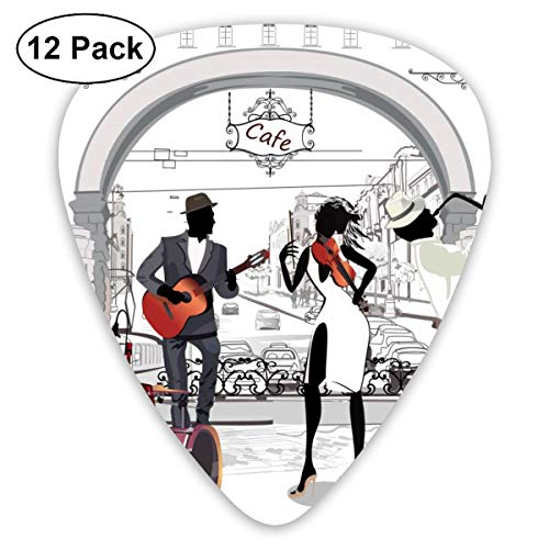 Gitaar Pick Retro Architecture Street Jazz Band 12-delige gitaar peddelset gemaakt van milieuvriendelijk ABS-materiaal, geschikt voor gitaren, quads, enz.