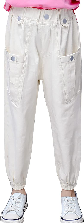 easyforever Girls Solid Color Sports Cargo Pants Jogger Hip Hop Street Dance Trousers Elastic Waist Pants Sweatpants