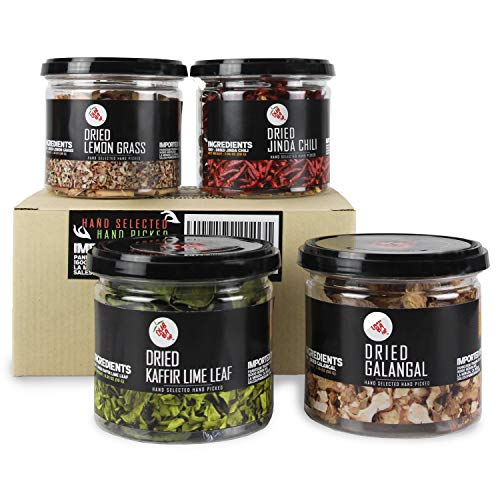 DubbaDip Authentic Thai Spice and Herb Set for Curry, Lemongrass, Galangal, Chili and Kaffir Lime