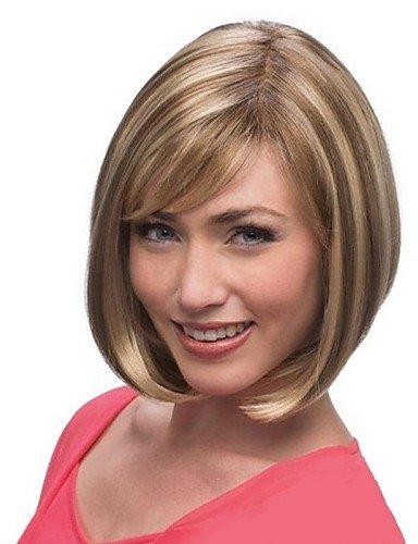 wigstyle parrucche fashion luce Sintetico di categoria superiore senza tappo marrone corto Linea destra parrucca parrucchiere per donne