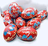 ukrainisches-kunsthandwerk Huevos de Pascua de madera pintados a mano, con colgador para exteriores, color rojo y gris, hechos a mano en Ucrania (rojo/gris)