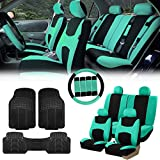 FH Group FB030115 Light & Breezy Cloth Seat Covers, Airbag & Split Ready Mint/Black Combo Set: Steering Wheel Cover, Seat Belt Pads and F11306 Vinyl Floor Mats-Fit Most Car, Truck, SUV, or Van