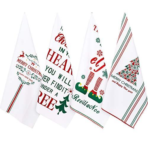 Whaline Christmas Dish Towel Set, White Winter Holiday Kitchen Dishtowels 18' x 28' Oversized Tea Dish Towels for Holiday, Home Decor, Gift-Christmas, 4 Pack