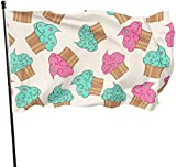 Viplili Banderas, Delicious Seamless Pattern with Cupcakes Fly Breeze 3x5 Ft. Polyester, Fade-Resistant and Durable Decorative Banner with Head and Brass Grommets for Easy Removal