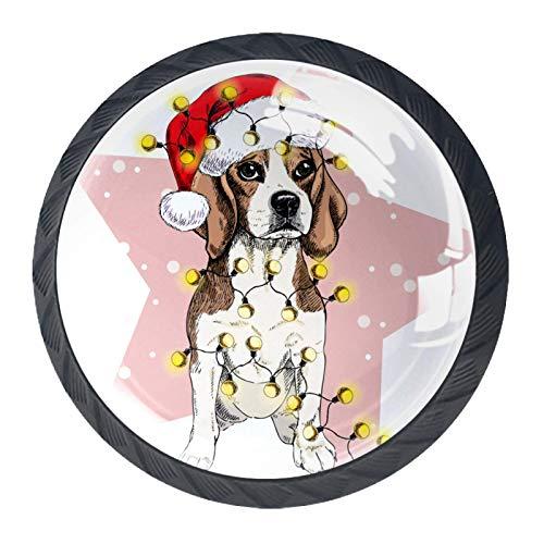 4 Cabinet Knobs for Dresser Drawers Cabinet Handles Pulls for Home Office Cupboard Santa hat Lights Garland Dog Snow