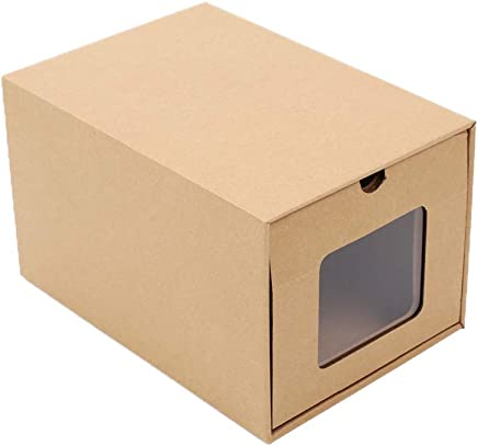 Hanbaili Kraft Paper Box Foldable Paper Shoes Box with Paper Brown Organizing School