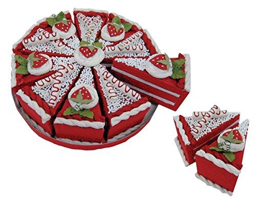 Set de 10 cajas en forma de porción Pastel + Display de regalo. Color: Rojo Precio unitario (por set). Color: ROJO. Set de 10 cajitas de cartón reciclado decoradas con cartón reciclado, papel maché y bolitas de corcho. Cada set de 10 cajitas viene pr...