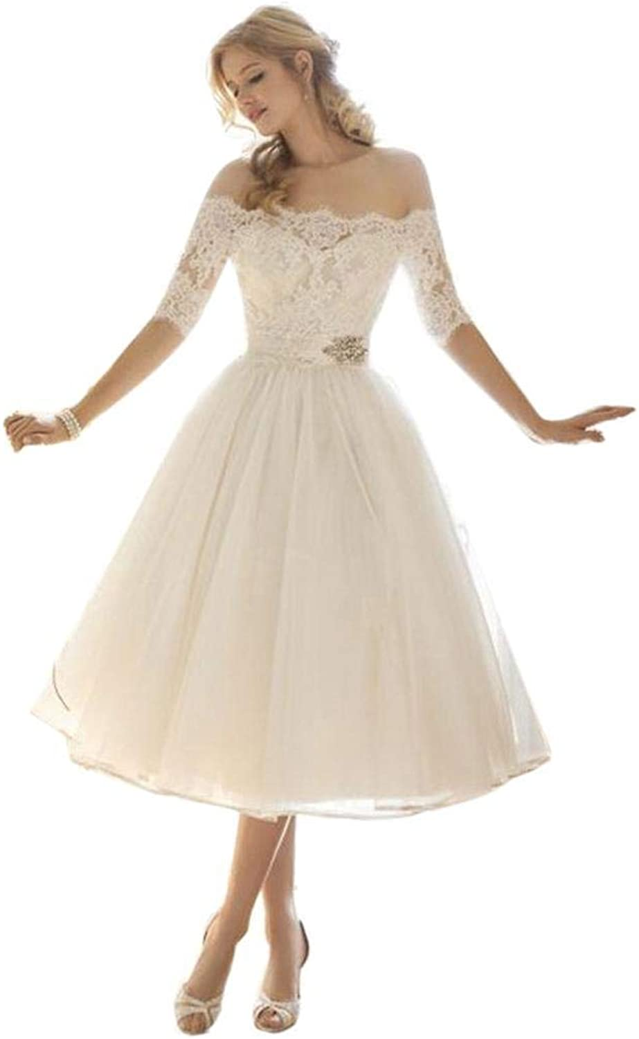 Iekofo  Women Party Wedding Dress Lace Floral See Through White Party Dress
