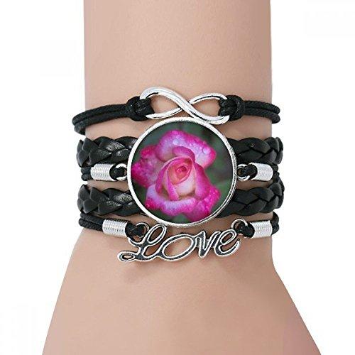 DIYthinker Rosa pétalos de Las Flores Pulsera Negro retorcido Amor He