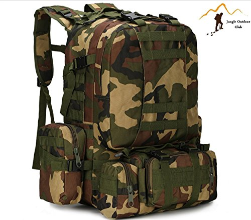 Jungle 50L Molle pour homme 's Lot Big Sacs de voyage Lot Camouflage Sac tactique poches Wild Sac à dos Unlimited Combinaison des Grandes Backpackhiking escalade Sac à dos, Jungle Camouflage