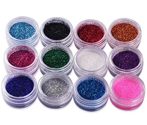 RICISUNG Lot de 12 pots de poudre brillante pour décoration d'ongles, maquillage et nail art