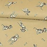 Stoffe Werning Dekostoff Dalmatiner Hunde beige Canvasstoff