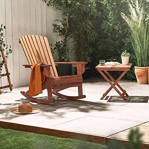 Domu Brands VonHaus klappbarer Adirondack-Stuhl - Outdoor Gartenmöbel aus Acacia Hartholz mit geölter Oberfläche