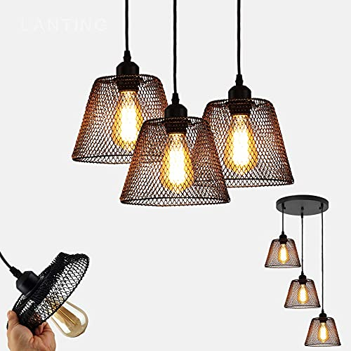 ZCCL Lámpara Colgante Retro, E27 * 3 Candelabro de Hierro Comedor Vintage Cafe Hall Decoración de Oficina Lámpara Colgante Diseño de Pantalla de lámpara Plegable