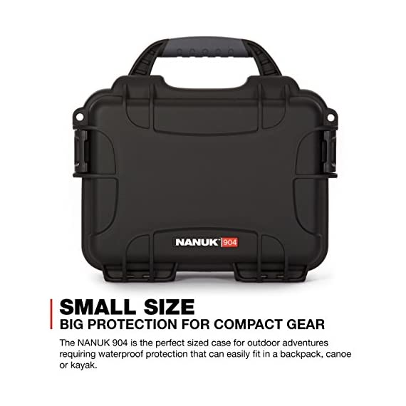 """Nanuk 904 waterproof hard case with foam insert - black 3 interior dimensions l8. 4"""" x w6. 0"""" x h3. 7"""" 