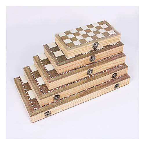 ZXC Home 3 in 1 Faltbare Holz Schachbrett Set Reisen Spiele Schach Backgammon Checkers Spielzeug Chessmen Entertainment Spielbrett Spielwaren-Geschenk (Color : 24x24cm)