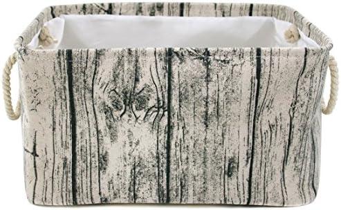 Jacone Stylish Tree Stump Design Wood Grain Rectangular Storage Basket Washable Cotton Fabric product image