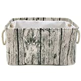 Jacone Stylish Tree Stump Design Wood Grain Rectangular Storage Basket Washable Cotton Fabric Nursery Hamper with Rope Handles, Decorative and Convenient for Kids Rooms (X-Large)