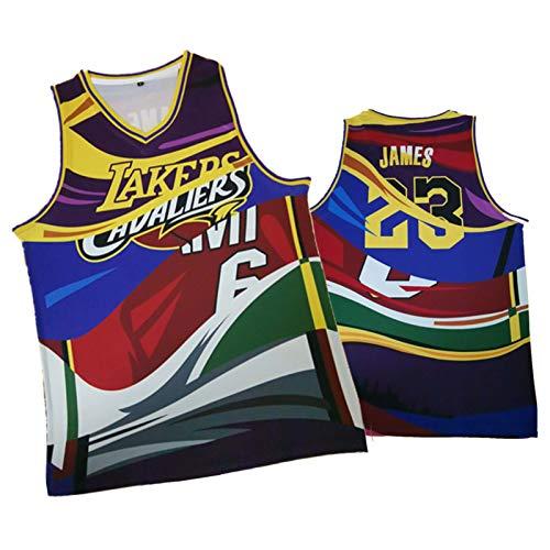 GHJK FMVP Lebron James Los Angeles Laker Basketball Jersey, Wärme 6# Laker 23# 3-Farben-Stitching Top/Joint Retro Farbe-blockierende Weste, Mesh-Sports Fans Favoriten Splicing-L