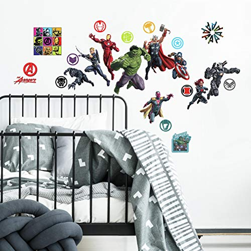 RoomMates RMK4289SCS Classic Avengers Peel and Stick Wall Decals, 26, Red, Green, Blue, Black, Purple, Yellow