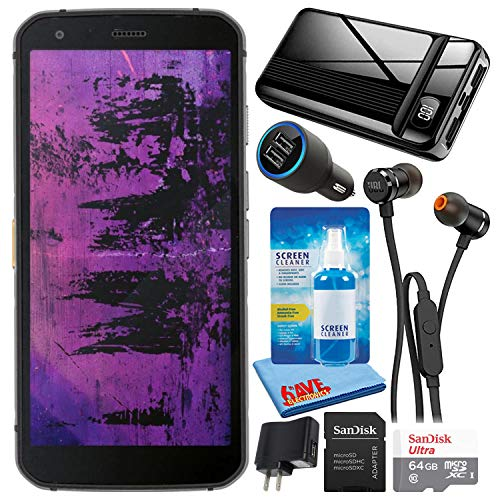 Caterpillar CAT S62 Pro Black 5.7  128GB + 6GB RAM 4G LTE Dual-SIM IP68 Rugged Smartphone (GSM Only, No CDMA) Bundle with 64GB Ultra microSD Card + 20,000mAh Power Bank + in-Ear Earbuds + Car Charger