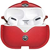 for Leather AirPods Pro Case, Watruer Protective Cover for Apple AirPods 3 Wireless Charging Case Headphones EarPods, Soft Leather Cover with Keychain Hook - Red
