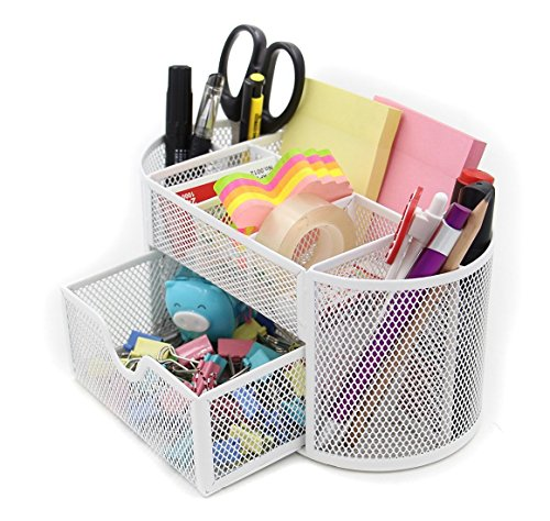 icase4u organizador de escritorio Organizador de mesa de gran capacidad portalápices perfecto para organizar artículos de oficina o papelería (Blanco)