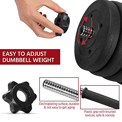 Yaheetech Dumbbells Set 30KG Adjustable Dumbbells Weight Set for Men and Women with Solid Chrome Finish Bar for Home Fitness Workout Body Building Training