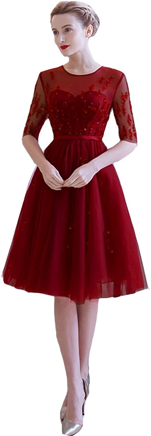 Lemai Vintage Sheer 1 2 Sleeves Tulle Knee Length Short Prom Corset Cocktail Dresses