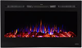 Touchstone 80014 - Sideline Electric Fireplace - 36 Inch Wide - in Wall Recessed - 5 Flame Settings - Realistic 3 Color Flame - 1500/750 Watt Heater - (Black) - Log & Crystal Hearth Options