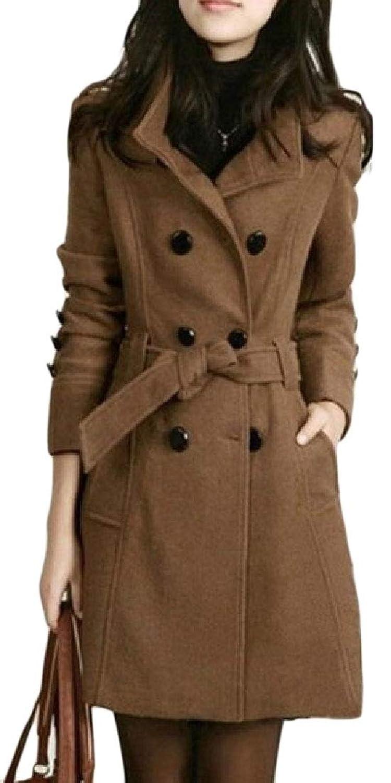 maweisong 女性のプラスサイズラペルミッドロングマルチポケットウールダブルブレストジャケット