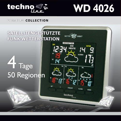 Technoline WD 4026 Wetterdirekt - Wetterstation mit LED-Anzeige,Innen und Außentemperaturanzeige, sowie Wettervorhersage für 4 Tage, schwarz/silber - 7