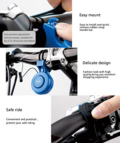Electric Bike Horn Electronic Bicycle Bell 120 DB Waterproof 3 Sound Modes with Rechargeable Battery (Black)