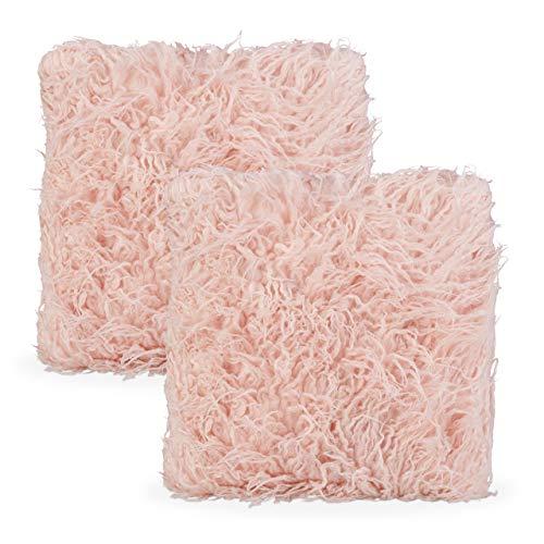 Relaxdays Juego de 2 Cojines mullidos, con Relleno y Funda, imitación de Piel, 45 x 45 cm, Color Rosa