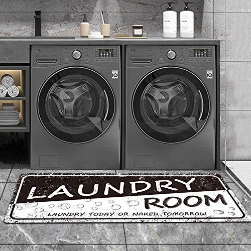Alfombra de lavandería estilo vintage para lavandería, alfombra de piso de lavandería, resistente, color negro, antideslizante, 20 x 48 cm