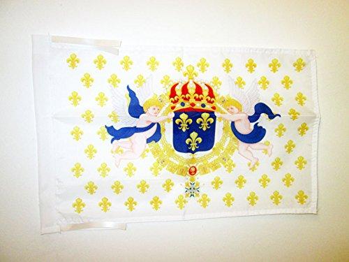 AZ FLAG Drapeau Royaume de France Cœur de Jésus 45x30cm - PAVILLON royaliste Ancien Régime Sacré Cœur - Roi 30 x 45 cm Haute qualité