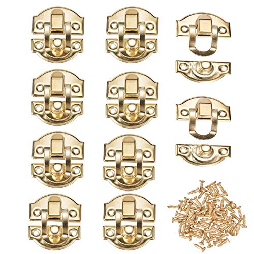 10 Pack Antique Gold Box Hasps Iron Lock Catch Latches for Jewelry Chest Box Suitcase Buckle Clip Clasp Vintage Hardware Latch Buckle with Mounting Screws(29x27mm)