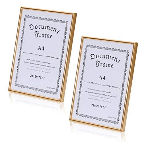 Premium Aluminium Bilder-Rahmen in Gold, Silber oder Kupfer mit bruchsicherem Plexi-Glas - Hochwertige Metall Foto-Rahmen A3 oder A4 fertig zum aufhängen - modern & zeitlos (2er Set A4, Gold)